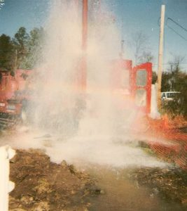 Well water shooting out of ground